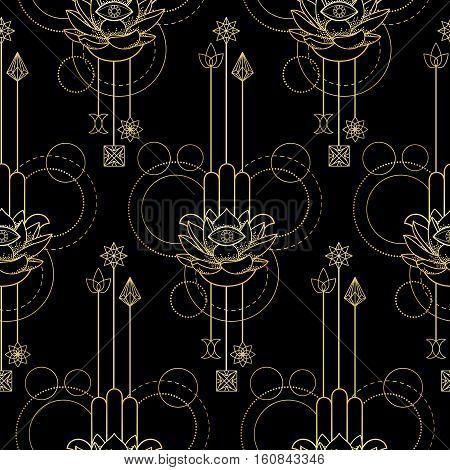 Hamsa Hand Of Fatima Seamless Pattern