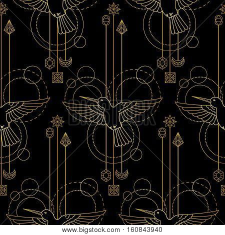 Abstract techno seamless pattern with gold colibri and geometric elements on black background. Modern textile print