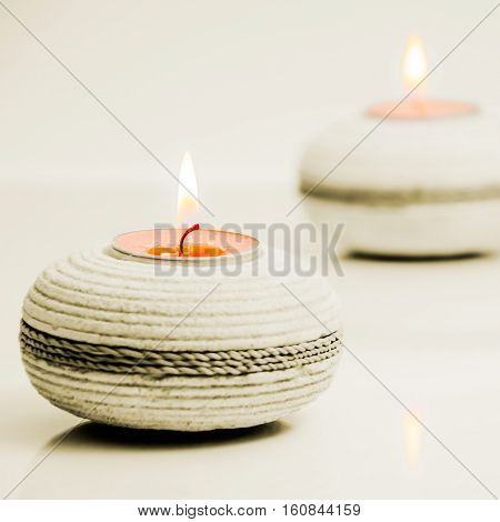 Round stone tea light holders spa concept square