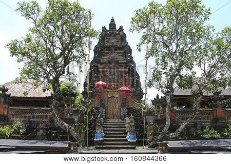 Saraswati hindu temple gates ubud bali indonesia