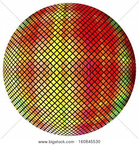 Yellow-orange mosaic ball, isolated on a white background.