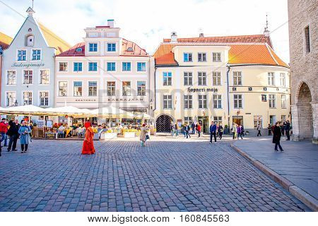 Tallinn, Estonia - September 25, 2016: View on the beautiful buildings on the town hall square in Tallinn, Estonia