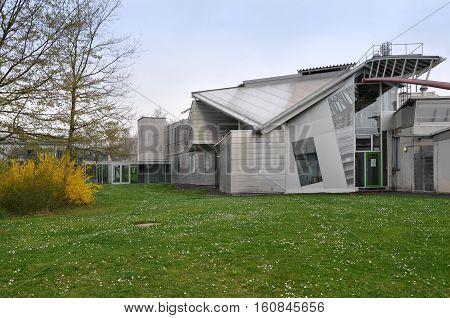 Stuttgart, Germany - April 17, 2015: Hysolar Institute Building in the style of deconstruction University of Stuttgart.