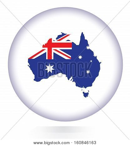Australia map button with national flag.Vector illustration