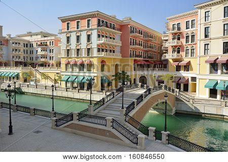 Street view in Venice-like Qanat Quartier of the Pearl precinct of Doha, Qatar.