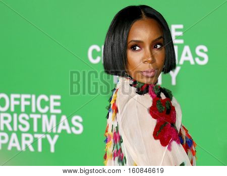 Kelly Rowland at the Los Angeles premiere of 'Office Christmas Party' held at the Regency Village Theatre in Westwood, USA on December 7, 2016.