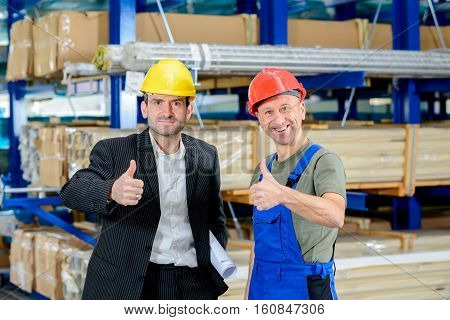 Boss And Worker With Thumb Up