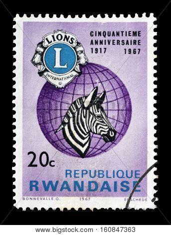 RWANDA - CIRCA 1967 : Cancelled stamp printed by Rwanda, that shows Zebra.
