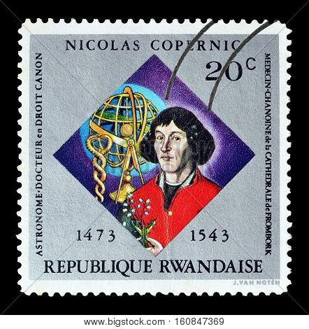 RWANDA - CIRCA 1973 : Cancelled stamp printed by Rwanda, that shows Nicolas Copernicus.