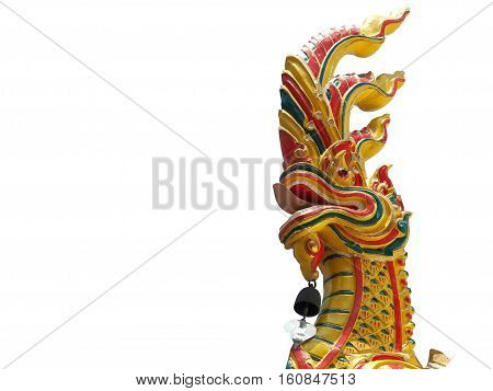 Naga or Serpent King statue in buddhist temple isolated on white background