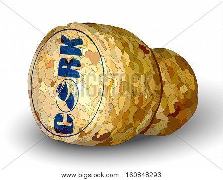 champagne cork left white background logo photorealistic