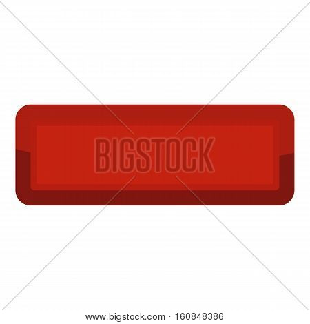 Red rectangle button icon. Cartoon illustration of red rectangle button vector icon for web