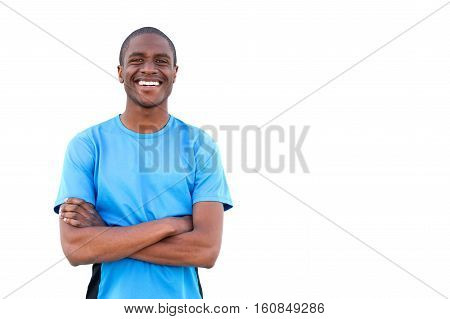 Happy African Guy Smiling With Arms Crossed On Isolated White Background