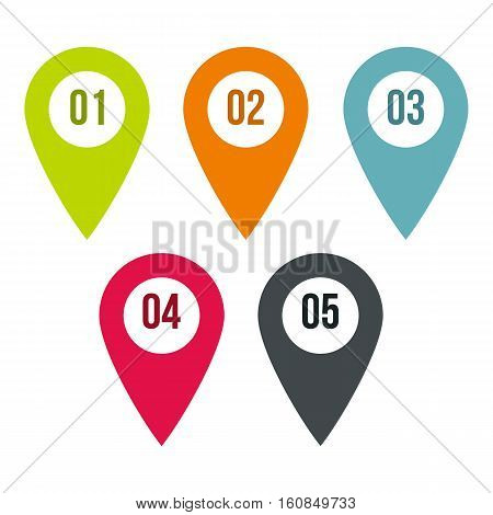 Pointer icons set. Flat illustration of 5 pointer vector icons for web