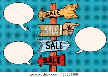 Pointers arrow sale signs navigation, pop art retro vector