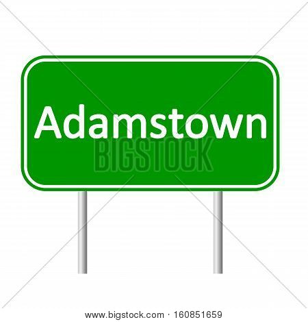 Adamstown road sign isolated on white background.