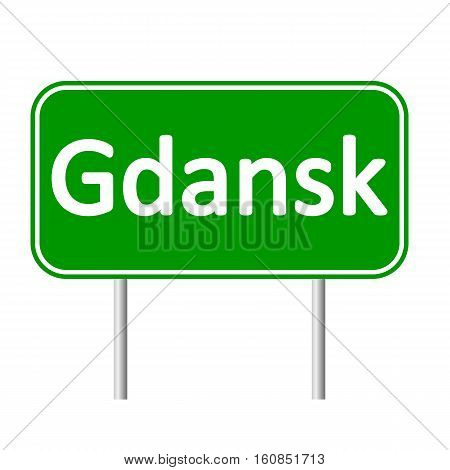 Gdansk road sign isolated on white background.