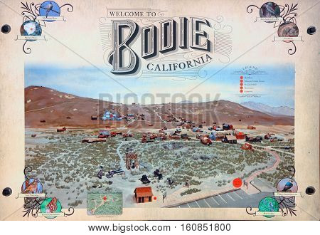 Bodie- October 3 :Bodie is a mining camp from a gold rush era in 1859 situated in the Bodie Hills east of the Sierra Nevada mountains , Bodie pictorial map at the entrance of park  on Oct 3, 2016.