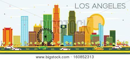 Los Angeles Skyline with Color Buildings and Blue Sky. Business Travel and Tourism Concept with Modern Architecture. Image for Presentation Banner Placard and Web Site.