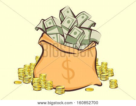 Money bag with bunches of dollars and coins stacks beside cartoon style isolated vector illustration