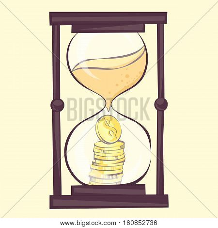 Time is money concept hourglass cartoon illustration with dollar. Sandglass retro style vector image.