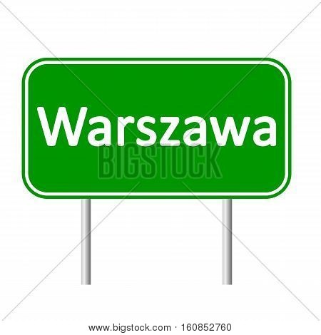 Warszawa road sign isolated on white background.