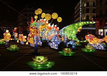 Lyon, France, December 9, 2016 : A Big Fish On Place De La Republique. The Festival Of Lights Stands