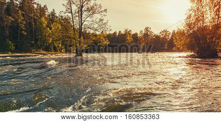 Flood. River Coast, Kotka, Finland