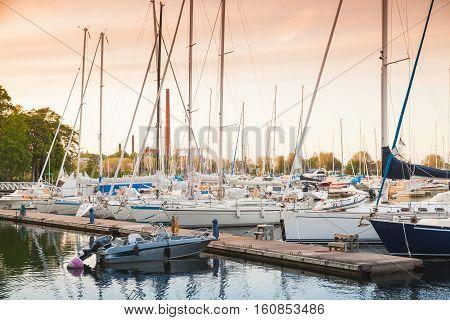 Yachts In Marina Of Kotka, Finland