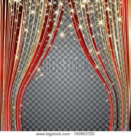 vector red and gold curtain strips on stage with stars