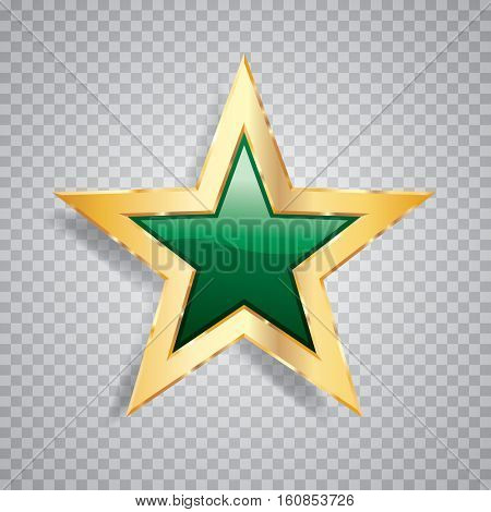 golden green star with transparent shadow, commercial success icon