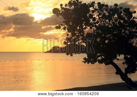 Sunset, Caribbean sea, Negril beach in Jamaica
