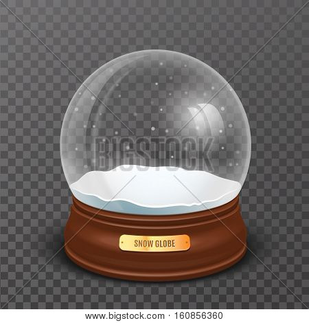 Snow globe. New Year and Chrismas realistic object