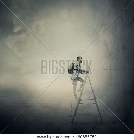Abstract idea with a person climbing a ladder in front of a concrete wall with no exit. Surrounded by limitations daily routine.