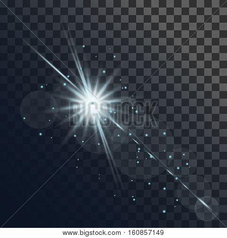 Light flare or star explosion with glowing sparkles and lens flare effect. Shining sunburst light effect on transparent background. Vector illustration for effect decoration with ray sparkles