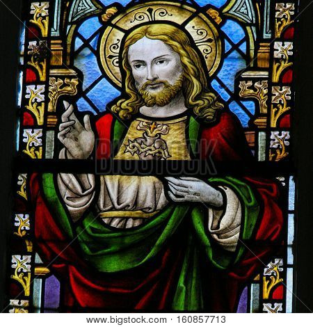 Stained Glass - Jesus Christ And The Sacred Heart