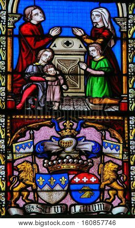Stained Glass - Family Prayer And Coat Of Arms