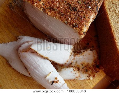 Homemade lard with condiments. Natural food, appetizer. Closeup. Traditional Dishes of Russian Cuisine