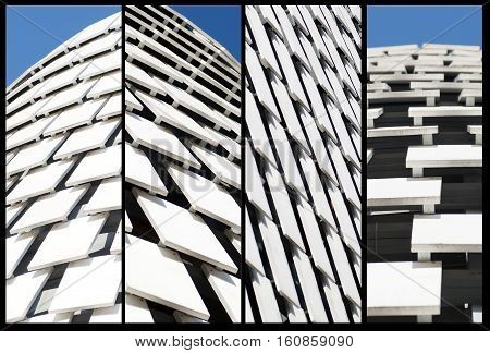 wooden facade modern perspective whit sky background