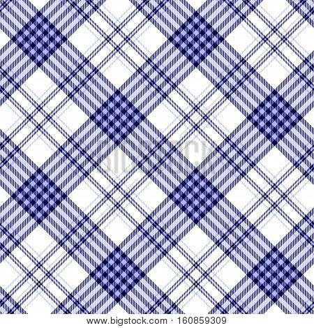 Seamless tartan plaid pattern in stripes of dark light blue on white.