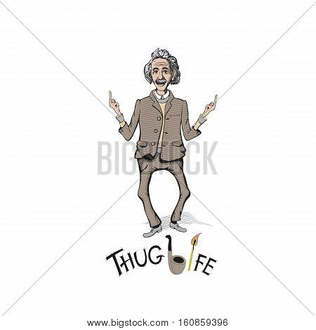 Naughty Einshtein with hair and mustache show fuck you symbol. t-shirt vector illustration. Thug life typographics