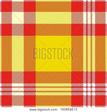 Seamless madras plaid pattern in yellow, red and white