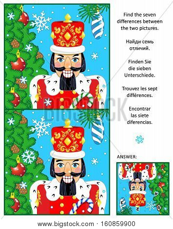 New Year or Christmas visual puzzle: Find the seven differences between the two pictures of nutcracker, christmas tree, baubles, falling snow. Answer included.