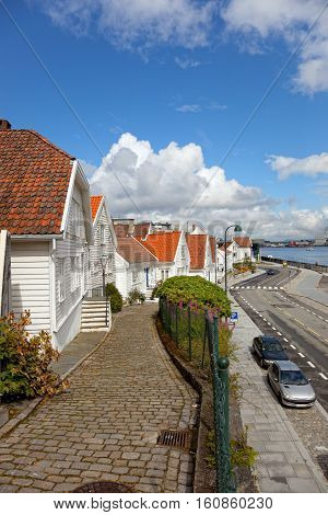 Traditional old wooden houses in Stavanger Norway.