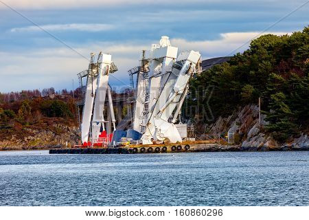 Big Gantry Crane in port of Stavanger Norway.