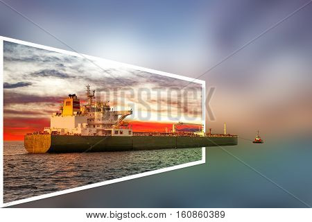 Tanker ship and tugboat - transport industry concept.