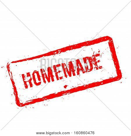 Homemade Red Rubber Stamp Isolated On White Background. Grunge Rectangular Seal With Text, Ink Textu