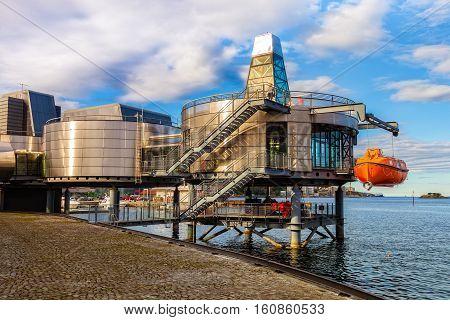 STAVANGER NORWAY - OCTOBER 10 2016: Exterior view of the Norwegian Petroleum Museum in Stavanger.