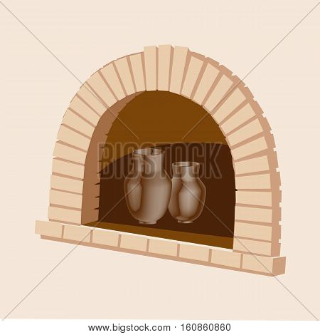 Oven with an jug of dairy products. Can use for milk product. Vector illustration