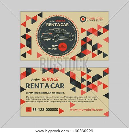 Rent A Car Business Card Template With Abstract Geometry Pattern Triangle Backgrounds Auto Service Mockup